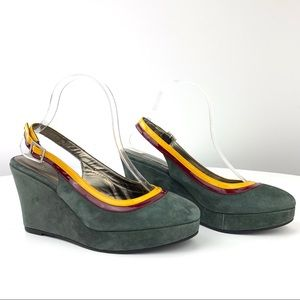 Boden Gray Suede Slingback wedge
